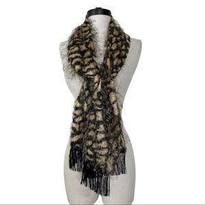 Animal print fringed eyelash scarf, brown & black